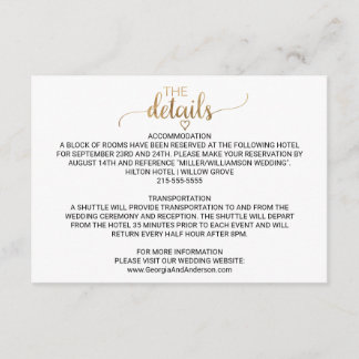 Simple Gold Calligraphy Wedding Details Enclosure Card