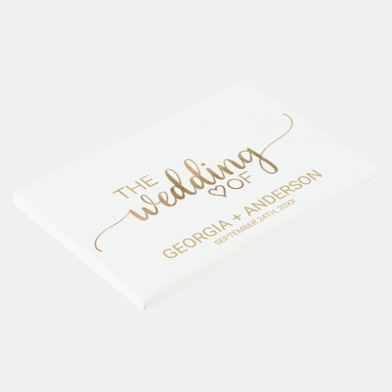 Simple Gold Calligraphy Wedding Guest Book