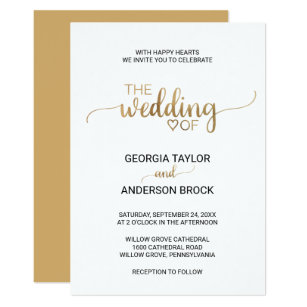Simple wedding invitations announcements zazzle simple gold calligraphy wedding invitation stopboris