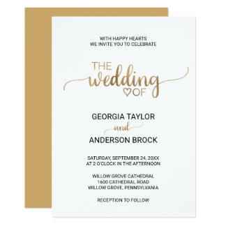 Simple Gold Calligraphy Wedding Invitation