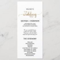 Simple Gold Calligraphy Wedding Program