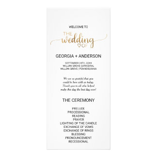 Simple Gold Calligraphy Wedding Program