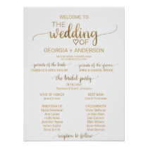 Simple Gold Calligraphy Wedding Program Poster