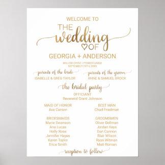 Simple Gold Calligraphy Wedding Program Poster