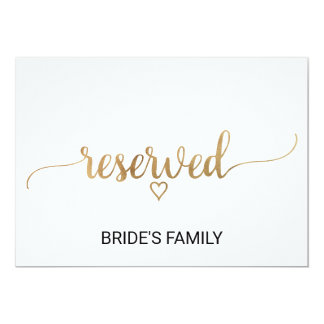 Simple Gold Calligraphy Wedding Reserved Sign Card