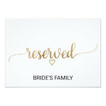 Simple Gold Calligraphy Wedding Reserved Sign Invitation
