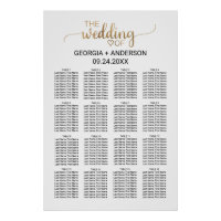 Simple Gold Calligraphy Wedding Seating Chart