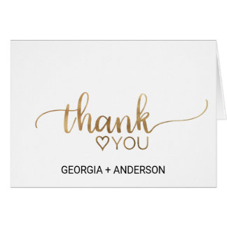 Simple Gold Calligraphy Wedding Thank You Card