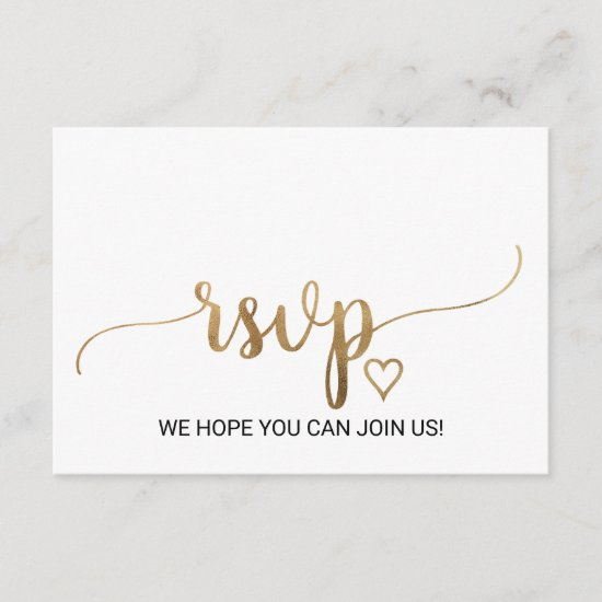Simple Gold Calligraphy Wedding Website RSVP Card