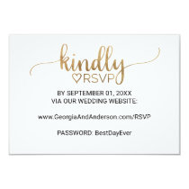 Simple Gold Calligraphy Wedding Website RSVP Invitation