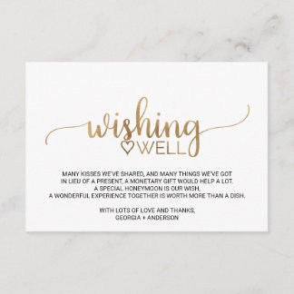 Simple Gold Calligraphy Wedding Wishing Well Enclosure Card