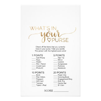 Simple Gold Calligraphy What's In Your Purse Game Flyer