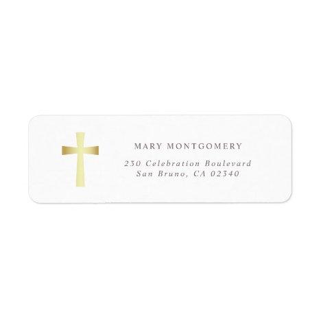 Simple Gold Cross Christian Return Address Label