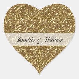 Simple Gold Elegance Heart Custom Wedding Sticker