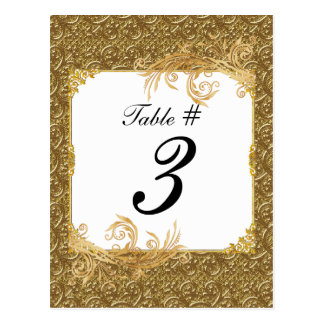 Simple Gold Elegance Wedding Table Number Cards