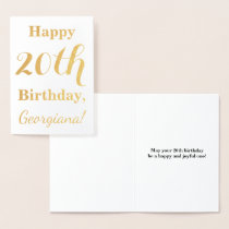Simple Gold Foil 20th Birthday   Custom Name Foil Card