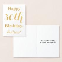 Simple Gold Foil 30th Birthday   Custom Name Foil Card