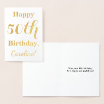 Simple Gold Foil 50th Birthday   Custom Name Foil Card