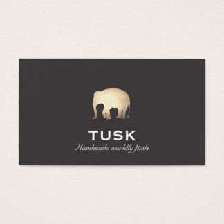 Simple Gold Foil Look Elephant Black Business Card