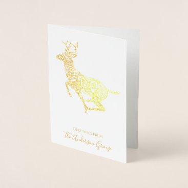 Simple Gold Foil Reindeer Deer with Signature Foil Card