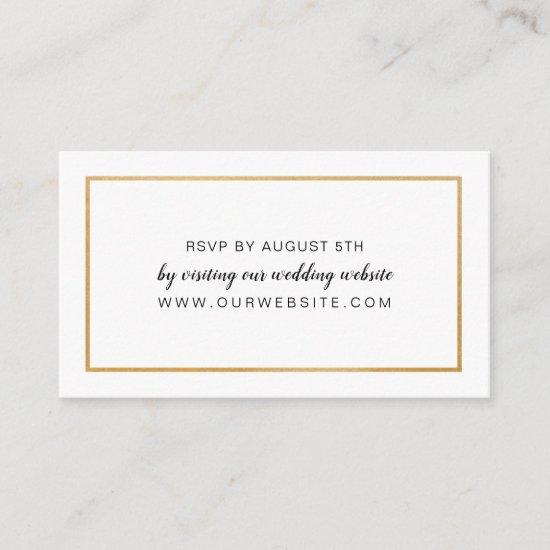 Simple Gold Frame wedding RSVP online card