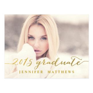 Simple Gold Glam | Graduation Party Invitation Postcard