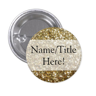 Simple Gold Glitter Printed Wedding Button