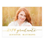 Simple Gold | Graduation Party Invitation Postcards