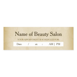 Simple Gold Grunge Hair Salon Appointment Reminder Mini Business Card
