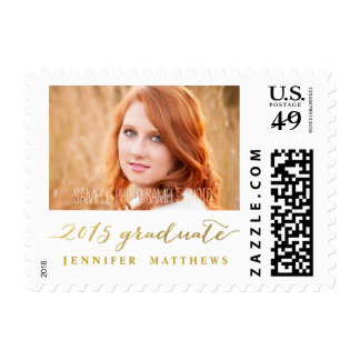 Simple Gold Handwriting | Graduation Photo Stamp