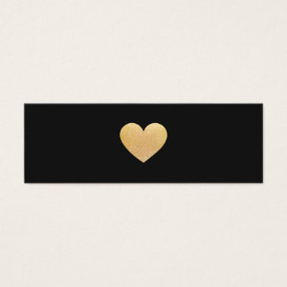 Simple Gold Heart Black Networking Mini Business Card