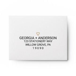 Simple Gold Heart Printed Address RSVP Envelope