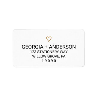 Simple Gold Heart Wedding Address Labels