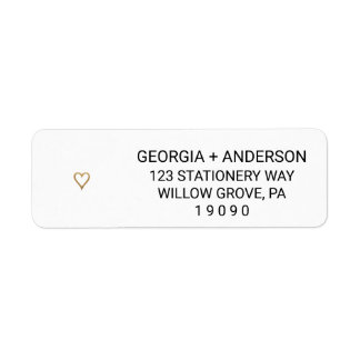 Simple Gold Heart Wedding Return Address Labels