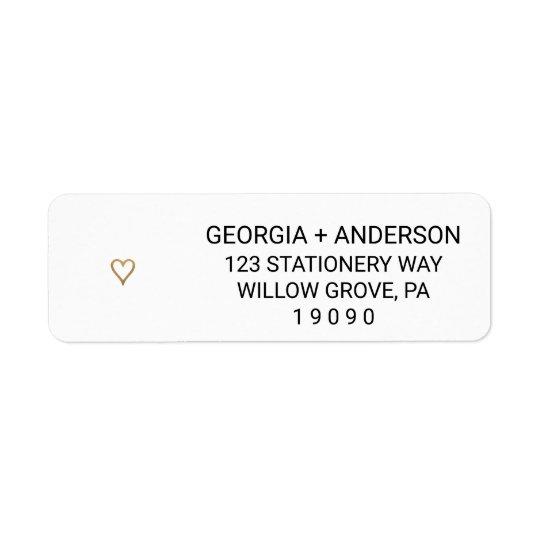 simple gold heart wedding return address labels zazzle com