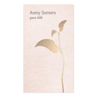 Simple Gold Leaf Pink Linen Business Card
