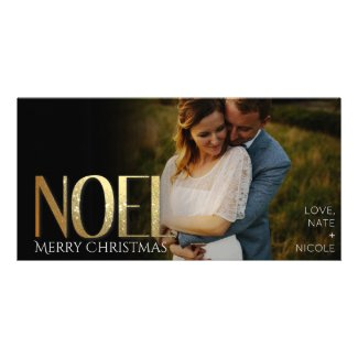 Simple Gold NOEL Christmas Photo Card