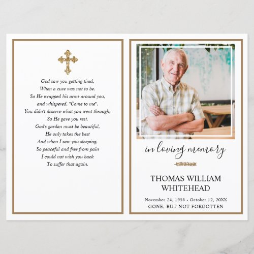 Simple Gold Photo Funeral Program White