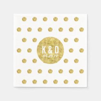Simple Gold Polka Dots Modern Wedding Paper Napkin