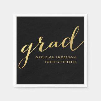 Simple Gold Script in Black | Graduation Napkins