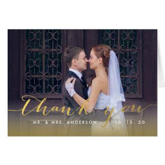 Simple Gold Script | Wedding Thank You Folded Card