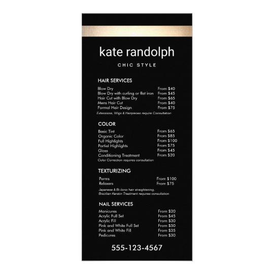 Simple Gold Stripe Black Salon Price List Menu | Zazzle.com