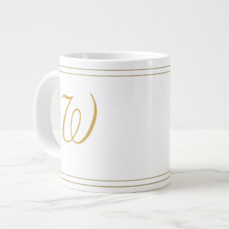 Simple Gold Stripes and Monogram Template 20 Oz Large Ceramic Coffee Mug
