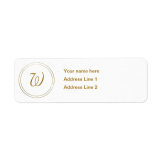 Simple Gold Stripes and Monogram Template Label