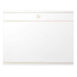 Simple Gold Stripes and Monogram Template Scratch Pads