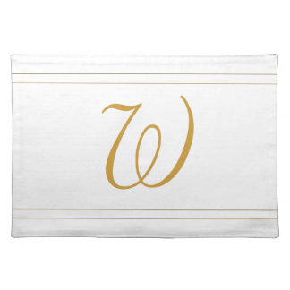 Simple Gold Stripes and Monogram Template Placemat