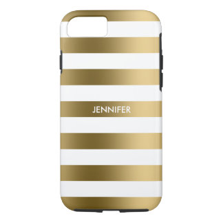 Simple Gold Stripes On White Background iPhone 7 Case