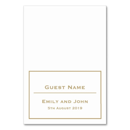 Simple Gold Typography and Border/Guest Name Table Number