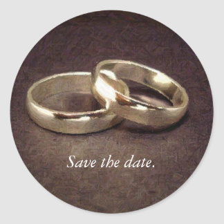 Simple Gold Wedding Bands - Save the Date Stickers