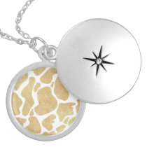 Simple Gold white Large Cow Spots Animal Print Locket Necklace